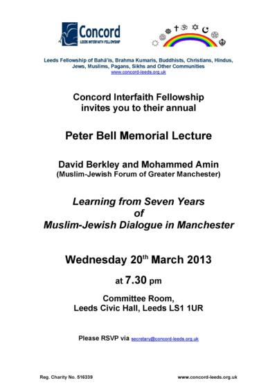 Flyer for Peter Bell Memorial Lecture